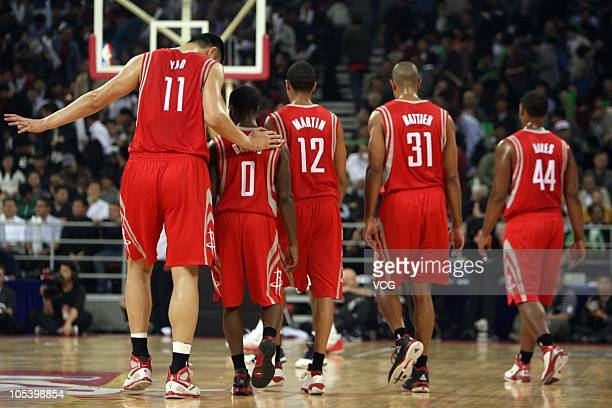 Yao Ming Aron Brooks Kevin Martin Shane Battier and Chuck Hayes of Houston Rockets in action during the 2010 NBA China Games between New Jersey Nets...