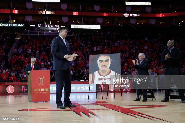 Yao Ming has his jersey retired at halftime of the game between the Houston Rockets and the Chicago Bulls at Toyota Center on February 3 2017 in...