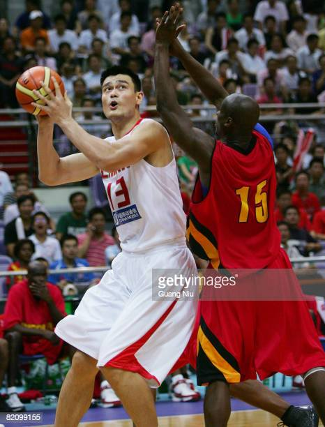 Yao Ming of China is in action during the FIBA Diamond Ball Basketball Tournament against Angola as a preparation for the upcoming Olympics on July...