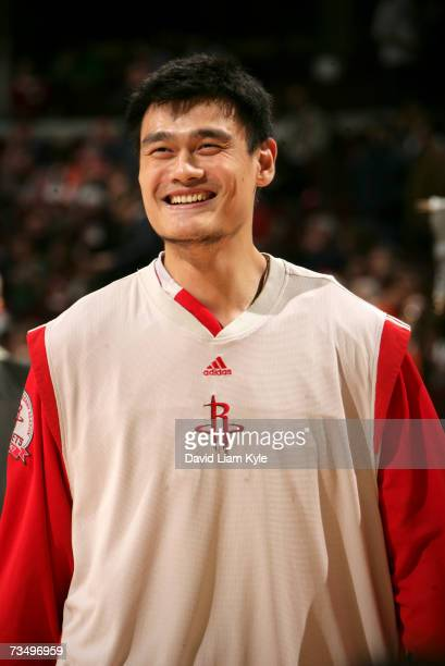 Yao Ming of the Houston Rockets begins warming up for NBA game play against the Cleveland Cavaliers at The Quicken Loans Arena March 5, 2007 in...