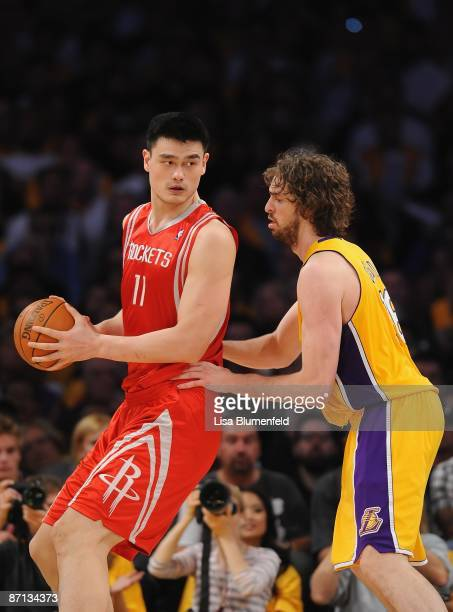 Yao Ming of the Houston Rockets drives against Pau Gasol of the Los Angeles Lakers in Game One of the Western Conference Semifinals during the 2009...