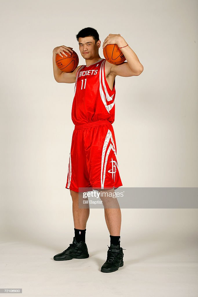 Yao Ming #11 of the Houston Rockets poses during NBA Media Day at the Toyota Center on October 3, 2006 in Houston, Texas.