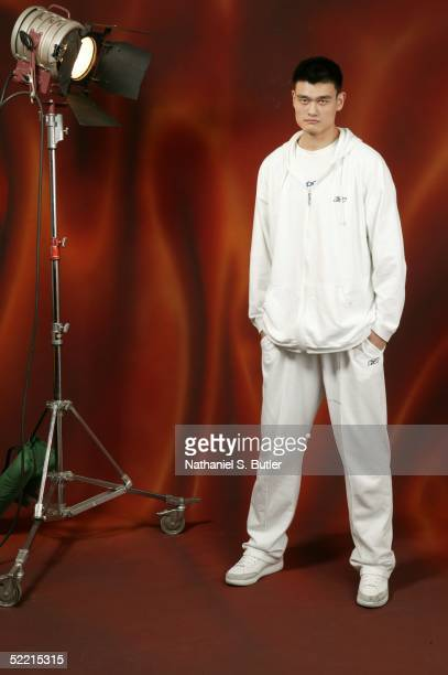 Yao Ming of the Houston Rockets poses for a portrait during the 2005 NBA AllStar Media Availability on February 18 2005 at The Westin Hotel in Dever...