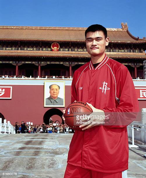 Yao Ming of the Houston Rockets poses for a portrait photo in Tiananmen Square in conjunction with the NBA China Games between the Houston Rockets...