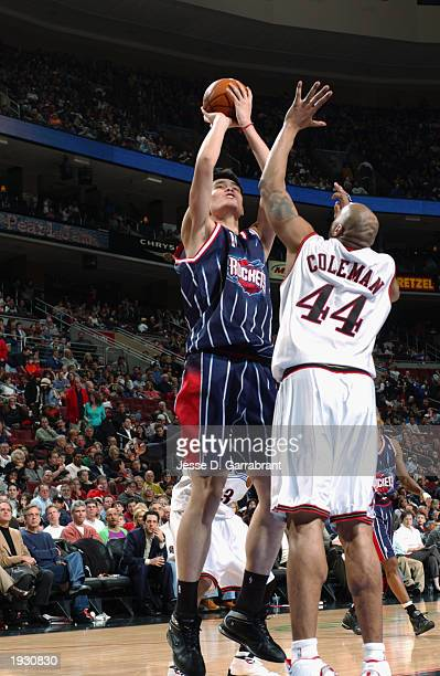 Yao Ming of the Houston Rockets shoots over Derrick Coleman of the Philadelphia 76ers during the NBA game at First Union Center on April 4 2003 in...