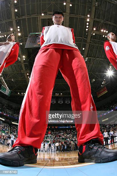 Yao Ming of the Houston Rockets stands on the court prior to the game against the Utah Jazz on April 18 2007 at the EnergySolutions Arena in Salt...