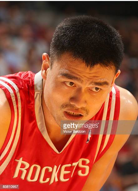 Yao Ming of the Houston Rockets takes a breather on November 24 2008 at the American Airlines Arena in Miami Florida NOTE TO USER User expressly...