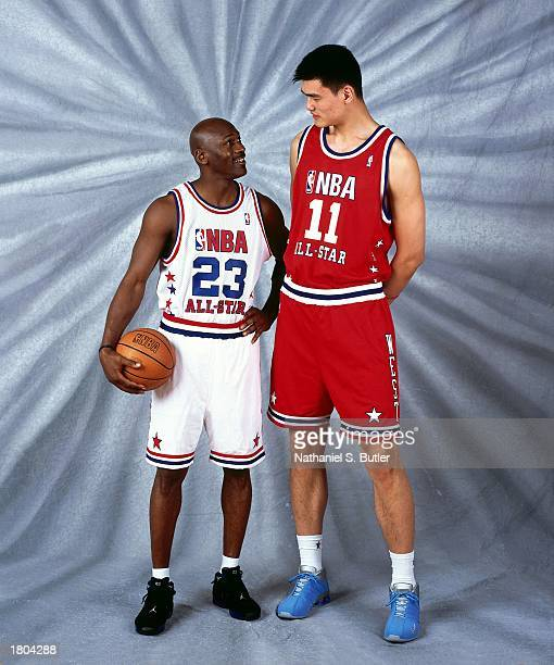 Yao Ming of the Western Conference AllStars and Michael Jordan of the Eastern Conference AllStars pose for a portrait prior to the 52nd NBA AllStar...
