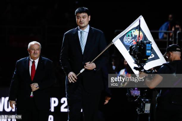 Yao Ming president of Chinese Basketball Association and Horacio Muratore president of the International Basketball Federation take part in a...