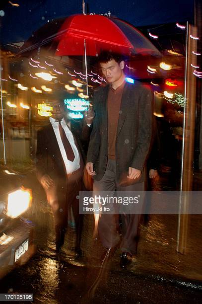 Yao Ming the NBA star from China leaving the restaurant Blue Smoke on East 27th Street on Tuesday night September 28 2004