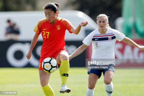Yao Wei of China Women during the Algarve Cup Women match between China PR v Norway at the Estadio Municipal de Albufeira on March 1, 2019 in...