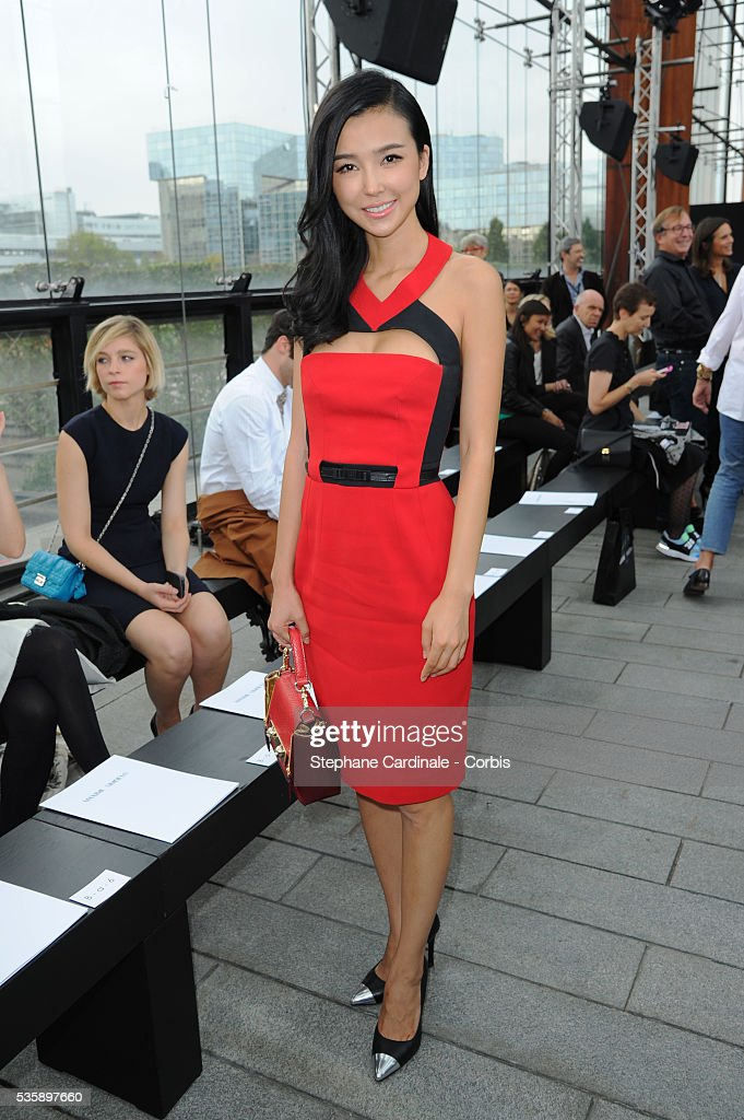 Yao Xing Gong attends Maxime Simoens show, as part of the Paris Fashion Week Womenswear Spring/Summer 2014, in Paris.