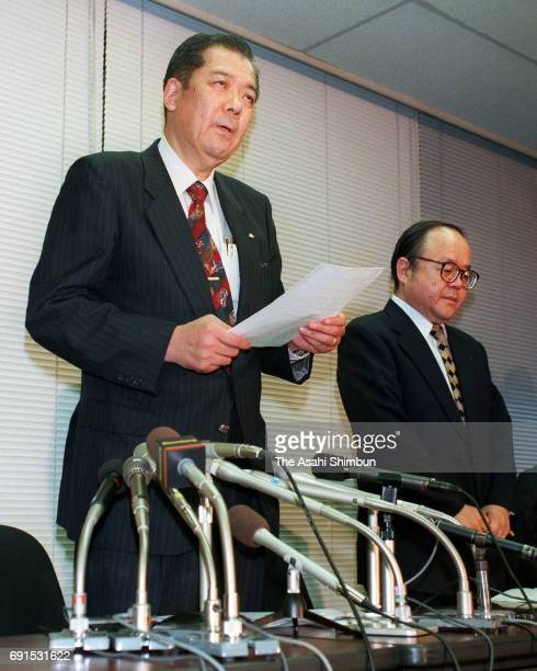 Yaohan Japan President Mitsumasa Wada speaks during a press conference on filing bankruptcy protection at the Tokyo Stock Exchange on September 18...
