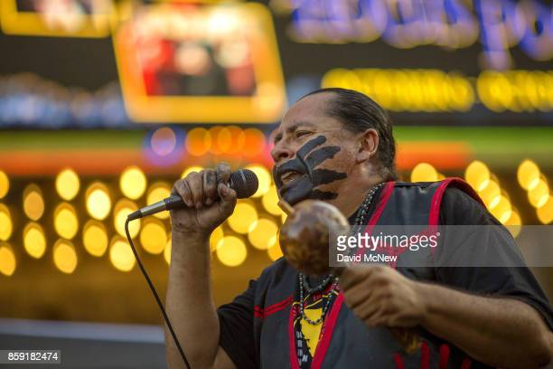 Yaotl Mazahua performs with the indigenous band Aztlan Underground on Hollywood Boulevard during an event celebrating Indigenous Peoples Day in the...