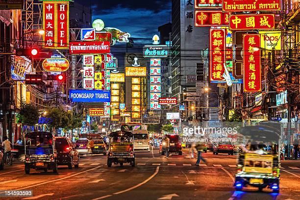 yaowarat road - bangkok stock pictures, royalty-free photos & images