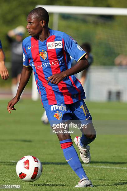 Yapo Gilles Donald Yapi of Basel runs with the ball during a friendly match between FC Basel and SV Weil am Rhein at Nonneholz stadium on July 15...
