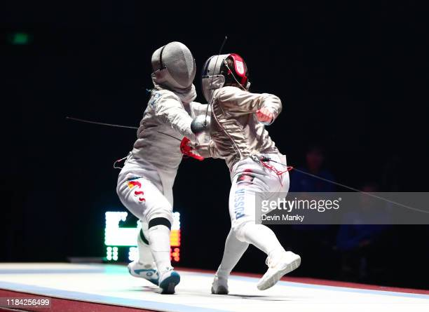 Yaqi Shao of China fences Olga Nikitina of Russia during the semifinal round of competition at the Women's Sabre World Cup on November 23 2019 at the...
