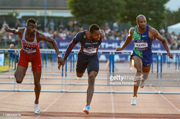 Yaqoub Mohamed Al Youha of Kuwait Dimitri Bascou of France and Antonio Alkana of South Africa during the International SottevillelesRouen Athletics...