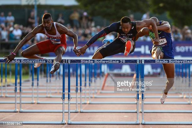 Yaqoub Mohamed Al Youha of Kuwait Dimitri Bascou of France Antonio Alkana of South Africa during the International SottevillelesRouen Athletics...