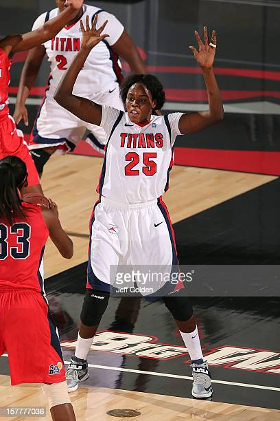 Yar Shayok of the Detroit Titans defends against Mansa El of the South Alabama Jaguars at The Matadome on November 24 2012 in Northridge California...