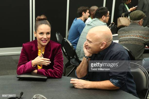 Yara Martinez and Michael Cerveris are interviewed at Amazon Prime Video's The Tick New York Comic Con 2017 Press Room at The Jacob K Javits...