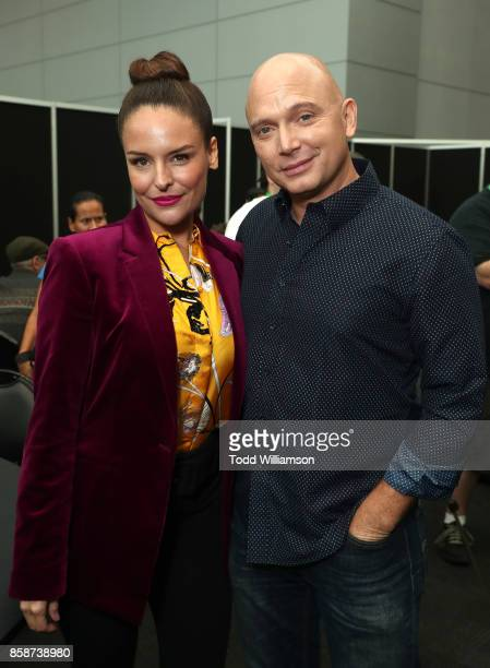 Yara Martinez and Michael Cerveris attends Amazon Prime Video's The Tick New York Comic Con 2017 Press Room at The Jacob K Javits Convention Center...