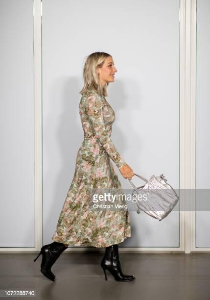 Yara Michels wearing dress is seen at Samsoe Samsoe autumn show on December 12 2018 in Copenhagen Denmark