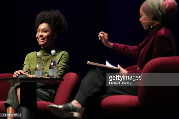 Yara Shahidi, actor and Gen Z activist, black-ish, grown-ish and Journalist Malika Bilal speak during The Power Of Inclusion Summit 2019 at Aotea...