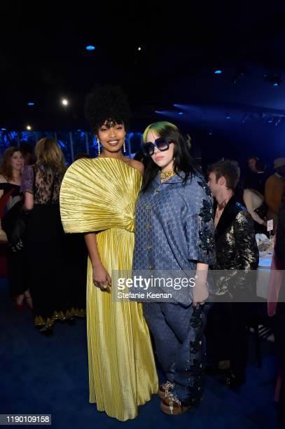 Yara Shahidi and Billie Eilish both wearing Gucci attend the 2019 LACMA Art Film Gala Presented By Gucci at LACMA on November 02 2019 in Los Angeles...