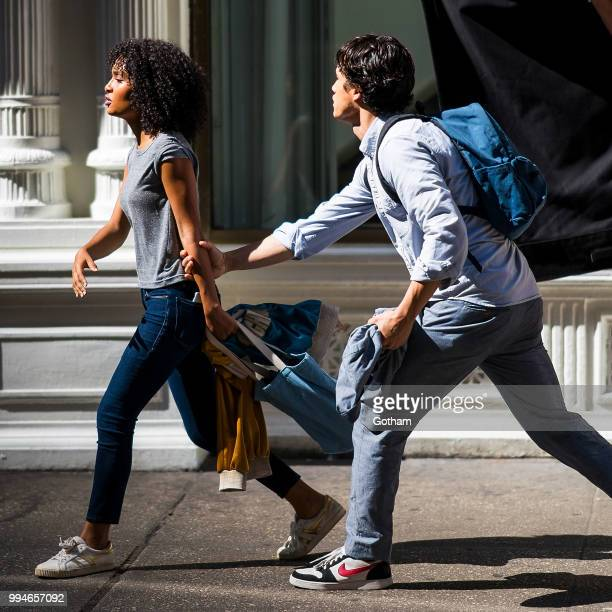 Yara Shahidi and Charles Melton are seen filming 'The Sun Is Also a Star' in Chelsea on July 9 2018 in New York City