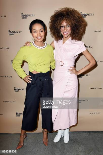 Yara Shahidi and Elaine Welteroth attend The Teen Vogue Summit LA Keynote Conversation with Hillary Rodham Clinton and actress Yara Shahidi on...