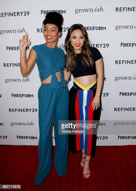 Yara Shahidi and Francia Raisa attend the premiere of ABC's 'Grownish' on December 13 2017 in Hollywood California