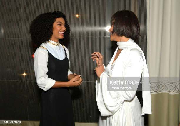 Yara Shahidi and Kat Graham attend the GLSEN Respect Awards at the Beverly Wilshire Four Seasons Hotel on October 19 2018 in Beverly Hills California