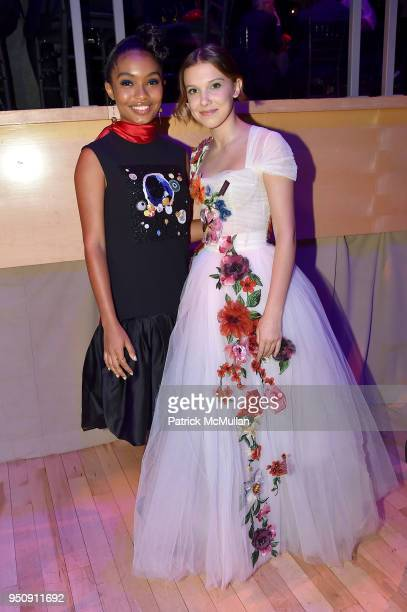 Yara Shahidi and Millie Bobby Brown attend the 2018 TIME 100 Gala at Jazz at Lincoln Center on April 24 2018 in New York City