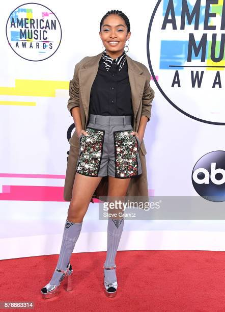 Yara Shahidi arrives at the 2017 American Music Awards at Microsoft Theater on November 19 2017 in Los Angeles California