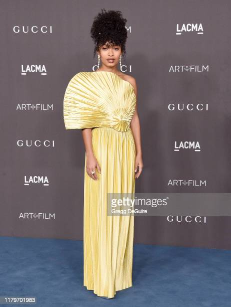 Yara Shahidi arrives at the 2019 LACMA Art Film Gala Presented By Gucci on November 2 2019 in Los Angeles California