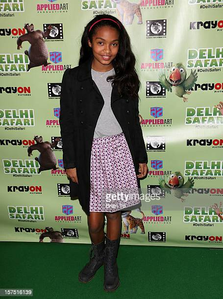 Yara Shahidi attends 'Delhi Safari' Los Angeles premiere at Pacific Theatre at The Grove on December 3 2012 in Los Angeles California