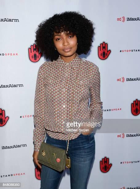 Yara Shahidi attends iMaxAlarm pledges to #StopStandSpeak against Street Harassment at the GBK Pilot Pen Pre Awards Celebrity Lounge 2017 Day 2 on...
