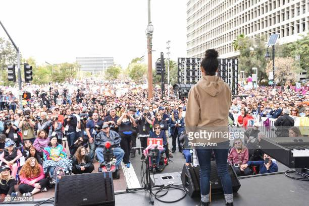 Yara Shahidi attends March For Our Lives Los Angeles on March 24 2018 in Los Angeles California