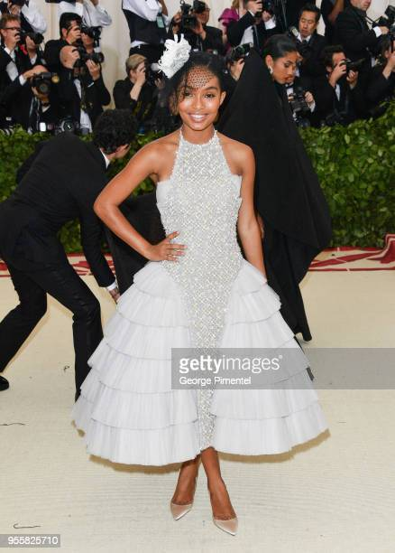 Yara Shahidi attends the Heavenly Bodies Fashion The Catholic Imagination Costume Institute Gala at the Metropolitan Museum of Art on May 7 2018 in...