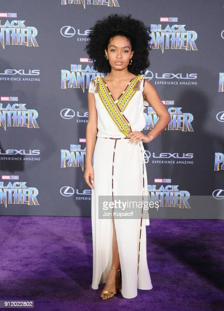 Yara Shahidi attends the Los Angeles Premiere 'Black Panther' at Dolby Theatre on January 29 2018 in Hollywood California