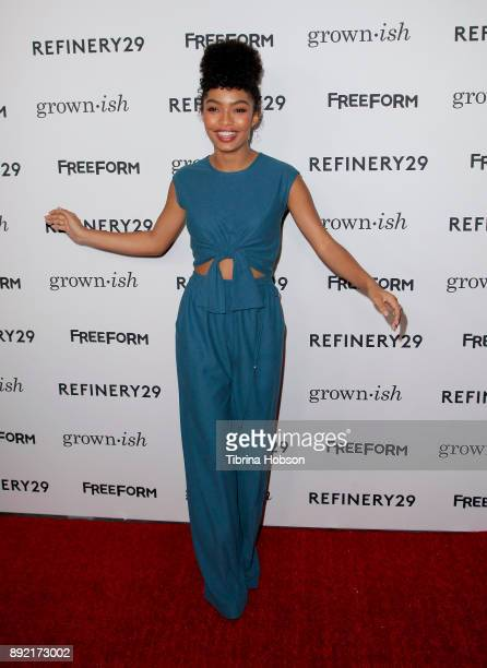 Yara Shahidi attends the premiere of ABC's 'Grownish' on December 13 2017 in Hollywood California