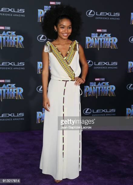 Yara Shahidi attends the premiere of Disney and Marvel's 'Black Panther' on January 28 2018 in Los Angeles California
