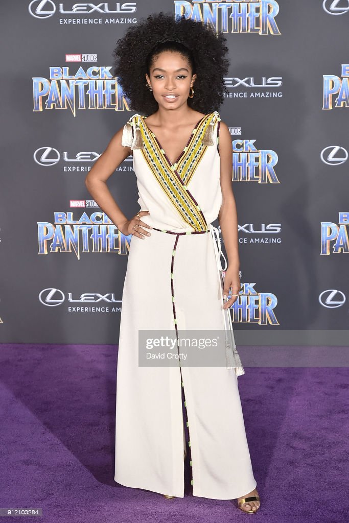 Yara Shahidi attends the Premiere Of Disney And Marvel's 'Black Panther' - Arrivals on January 29, 2018 in Hollywood, California.