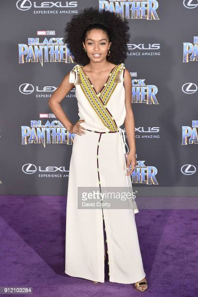 Yara Shahidi attends the Premiere Of Disney And Marvel's 'Black Panther' Arrivals on January 29 2018 in Hollywood California