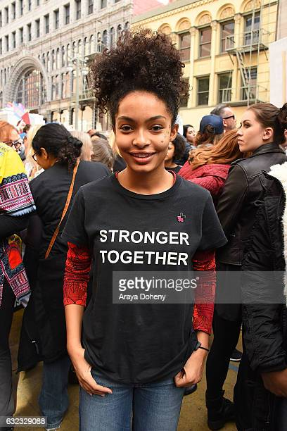 Yara Shahidi attends the Women's March Los Angeles on January 21 2017 in Los Angeles California