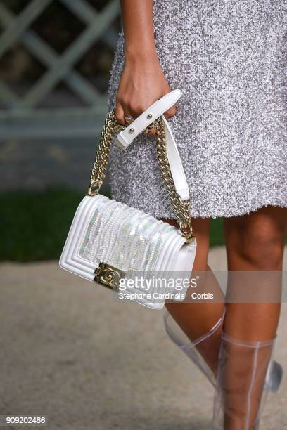 Yara Shahidi bag detail attends the Chanel Haute Couture Spring Summer 2018 show as part of Paris Fashion Week January 23 2018 in Paris France