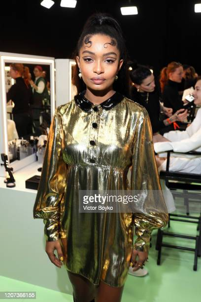 Yara Shahidi is seen backstage at the Gucci Backstage during Milan Fashion Week Fall/Winter 2020/21 on February 19, 2020 in Milan, Italy.