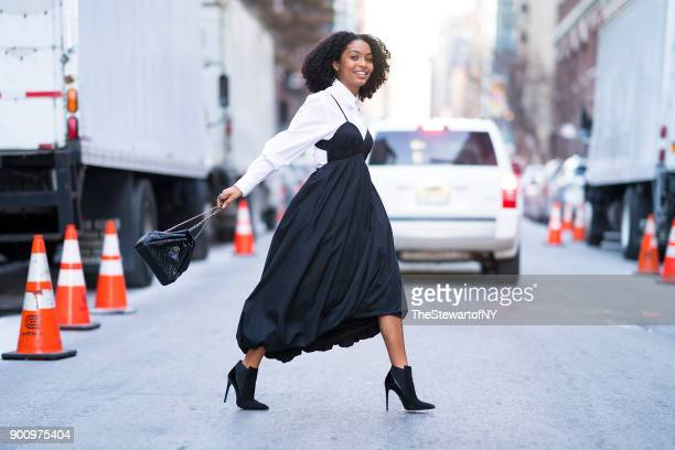 Yara Shahidi is seen wearing 3.1 Phillip Lim with a Chanel handbag, Loriblu boots and Paige Novick earrings in Chelsea on January 3, 2018 in New York...