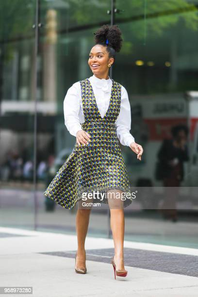 Yara Shahidi is seen wearing a Delpozo dress and shirt with Christian Louboutin shoes and Vita Fede earrings in Midtown on May 15 2018 in New York...
